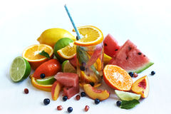 Fruits and lemonade Stock Image