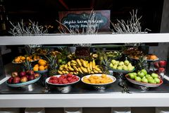 Fruits like banana, orange, pomegranate, apple stock photography