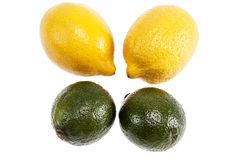 Fruits of lime and lemon isolated on white background Royalty Free Stock Photo
