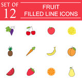 Fruits line icon set, organic vegetarian food Royalty Free Stock Photo