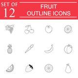Fruits line icon set, organic vegetarian food royalty free illustration