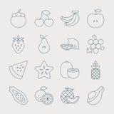 Fruits line icon set Royalty Free Stock Photo