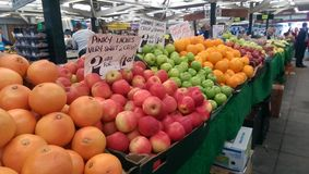 Fruits at local market. Oranges and apples, leicester royalty free stock photo