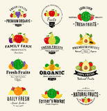 Fruits Logos, Labels and Design Elements Royalty Free Stock Photography
