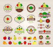 Fruits Logos, Labels, Fruits Icons and Design Elements Stock Photo