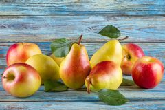 Fruits mûrs avec des feuilles - poires et pommes rouges Photographie stock libre de droits