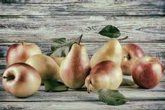 Fruits mûrs avec des feuilles - poires et pommes rouges Image stock