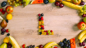 Fruits made letter L Stock Image