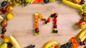 Fruits made letter M Royalty Free Stock Image