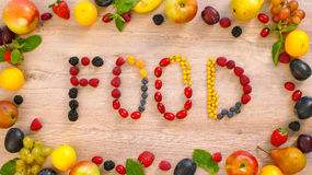 Fruits made word Food Stock Photo