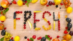 Fruits made word fresh Royalty Free Stock Photos
