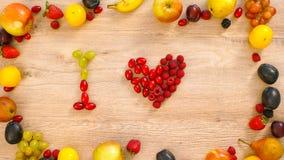 Fruits made word I love Stock Photos