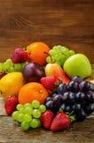 Fruits. mango, lemon, plum, grape, pear, orange, Apple, banana, Royalty Free Stock Photos