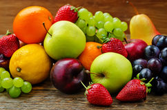 Fruits. mango, lemon, plum, grape, pear, orange, Apple, banana, Royalty Free Stock Image