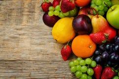 Fruits. mango, lemon, plum, grape, pear, orange, Apple, banana, Royalty Free Stock Images