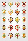 Fruits Mapping Pins Icons Royalty Free Stock Photo