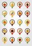 Fruits Mapping Pins Icons Stock Photo