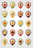 Fruits Mapping Pins Icons Stock Photos