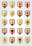 Fruits Mapping Pins Icons Royalty Free Stock Photos