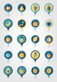Fruits mapping pins icons Stock Photography