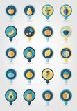 Fruits mapping pins icons Stock Image
