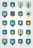 Fruits mapping pins icons Royalty Free Stock Photography