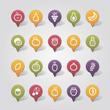 Fruits mapping pins icons Royalty Free Stock Image