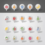 Fruits mapping pins icons Stock Images