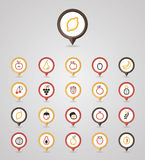 Fruits mapping pins icons Royalty Free Stock Images