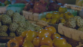 Fruits on the market close-up stock footage