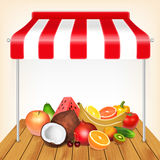 Fruits market concept. Red and white striped awning with fruits. EPS10 vector Stock Photography