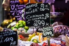 Fruits market, in La Boqueria,Barcelona famous marketplace Stock Photography