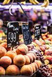 Fruits market, in La Boqueria,Barcelona famous marketplace Royalty Free Stock Photo