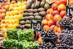 Fruits market, in La Boqueria,Barcelona famous marketplace Royalty Free Stock Image