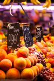 Fruits market, in La Boqueria,Barcelona famous marketplace Royalty Free Stock Photography