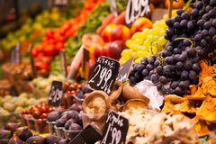 Fruits market, in La Boqueria,Barcelona famous marketplace Stock Image