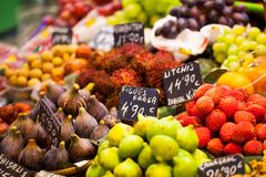 Fruits market, in La Boqueria,Barcelona famous marketplace Stock Photos