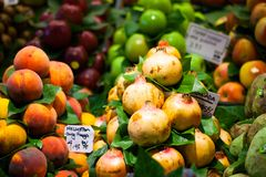 Fruits market, in La Boqueria,Barcelona famous marketplace Stock Images