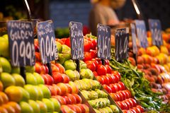 Fruits market, in La Boqueria,Barcelona famous marketplace.  royalty free stock photography