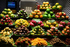 Fruits on market place. In Barcelona Spain Royalty Free Stock Photography
