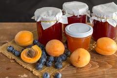 Fruits and marmalade Stock Photos