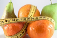 Fruits measured the meter Royalty Free Stock Images