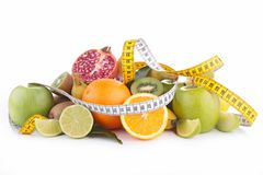 Fruits and measuring tape Royalty Free Stock Photo