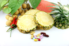 Fruits and medicines. Royalty Free Stock Photo