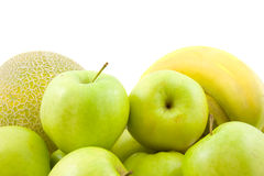 Fruits, melon, apple and bananas Stock Photo
