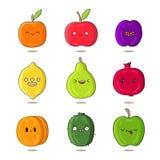 Fruits mignons et drôles avec différentes émotions Photographie stock