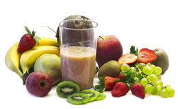 Fruits milk shale and fresh fruits selection Stock Photos