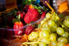 Fruits mix close up healthy diet at day. Fruits mix close up healthy diet at sunny day royalty free stock images