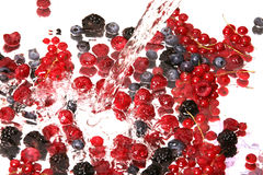 Fruits mix and water Stock Photo