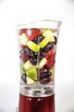 Fruits in a mixer stock images